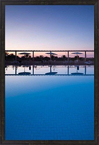 Tunisia, Jerid Area, Tozeur, Hotel El Mouradi Pool by Walter Bibikow / Danita Delimont Framed Art Print Wall Picture, Espresso Brown Frame, 25 x 36 (Hotel El Mouradi Pool)