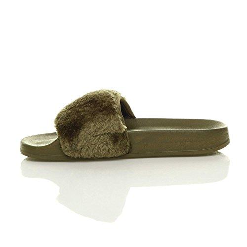 Ajvani Womens Ladies Flat Faux Fur Comfy Slip on flip Flop Sliders Slipper Sandals Size Khaki LEFuA