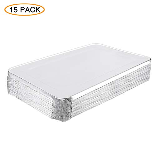 XIAFEI (15 Pack) Premium Lids for Chafing Pans 12 x 20 Half Deep Pans Perfect for Roasting Catering Party BBQ Baking Cakes Pies