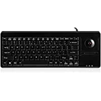 Perixx PERIBOARD-514H PLUS, Wired Keyboard with Trackball - 14.57x5.39x1.02 Inch Dimension - USB Port with 2 Hubs - Trackball Updated in 2015