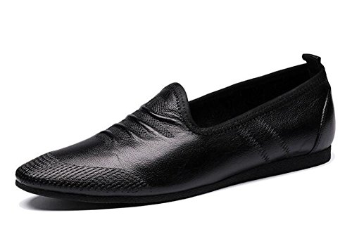 Men Slip-On Oxford Summer Breathable Men'S Shoes Casual Shoes Soft Leather Leather Comfortable Loafer Flat Shoes ( Color : Black , Size : 39 ) by GLSHI