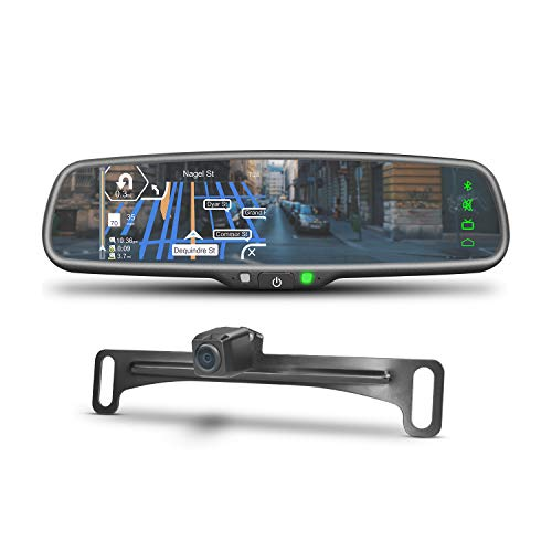 (iMirror JM-1 Car Rear View Mirror Monitor with GPS Navigation, IGO Map, Bluetooth Handsfree and Backup Camera Display Touch Screen)