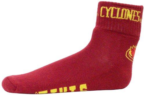 NCAA Iowa State Cyclones Men's Quarter Socks, Maroon/White/Gold