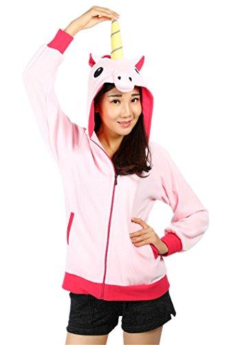 Pink Unicorn Casual Hoodies Polar Fleece Cool Sweatshirts S