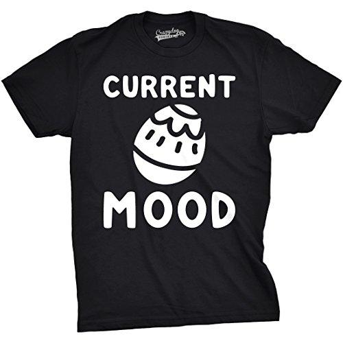 Crazy Dog TShirts - Mens Current Mood Easte Tshirts Funny Egg Hunt Basket Spring Tee (Black) 5XL - herren - 5XL