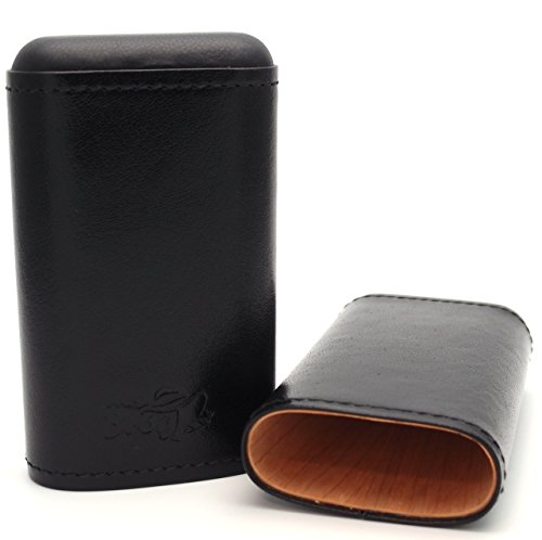 Cigar Carrying Cases - La Habanos (Robusto) - Authentic Full Grade Buffalo Hide Leather - Black (Robusto Humidor)