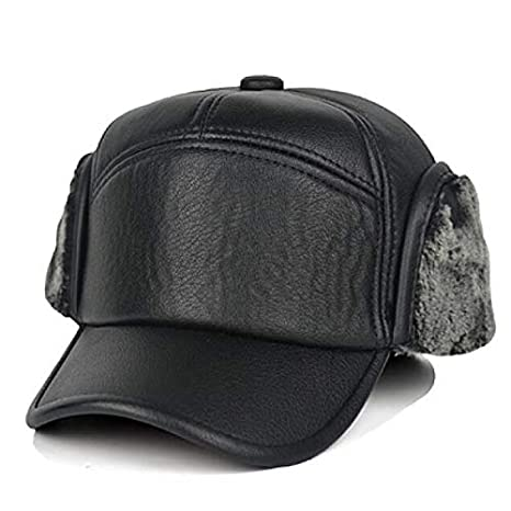 old man winter leather hat cap ear winter baseball 60-70-80 year old grandfather plus (best black hair GOKAGY