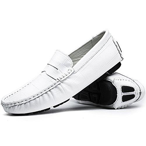 VILOCY Herren Beiläufig Fahren Boot Schuhe Platz Prägung Weich Leder Unterhose auf Faulenzer Mokassins Weiß