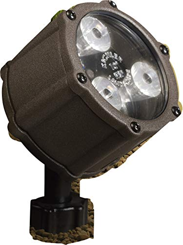 Kichler Lighting 15733AZT LED Accent Light 3-Light Low Voltage 60 Degree Wide Flood Light, Textured Architectural Bronze with Clear Tempered Glass