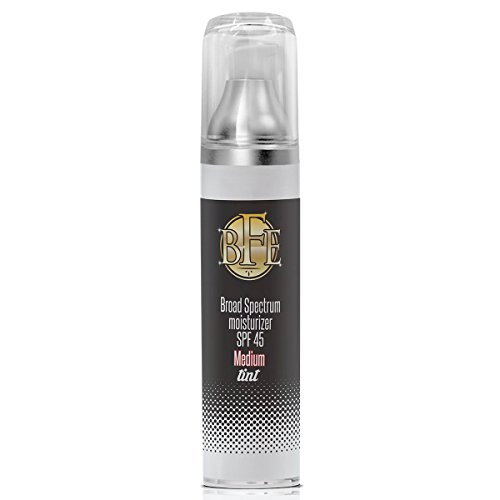 Anti Aging Medium Tinted Moisturizer Sunscreen SPF 45- Includes Hyaluronic Acid, Zinc Oxide, & Niacinamide for UVA & UVB Broad Spectrum Sun Protection. Medium Sheer Tint Color for Face & Body. (Transforming Skin Tint)