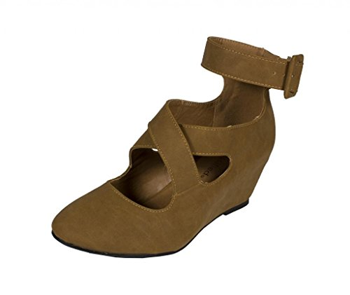 Strap Classified Tan Wedge Criss In Suede Pump Bitter Nubuck Womens Cross Chunky City vCqwdYw