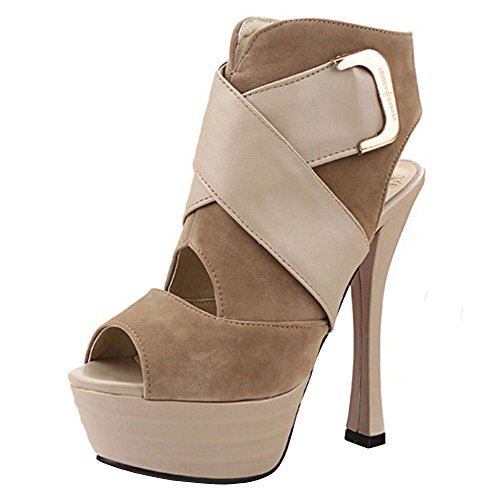 Coolcept Women Fashion High Heel Ankle Sandals Apricot EDY9Wpsm