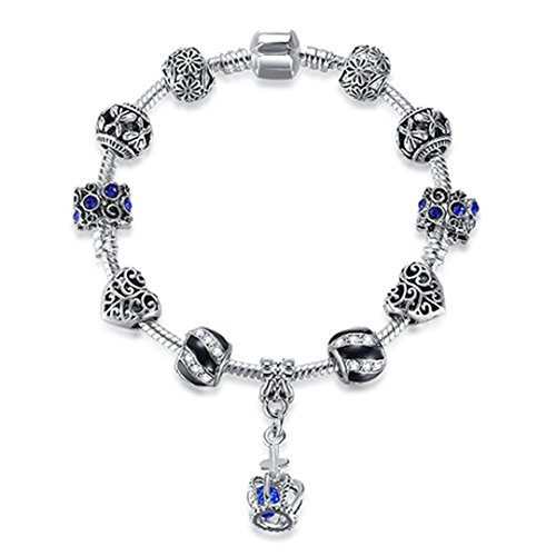 Authentic 925 Enamel Silver Crystal Beads Charms For Women With Safety Chain Bracelet Bangle Mother's Day Gift PS3841 17cm