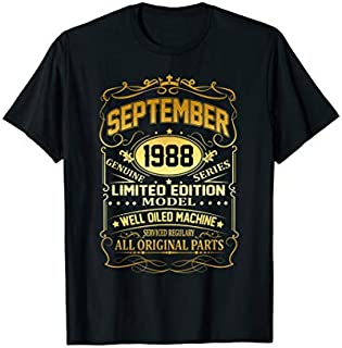 September 1988 Vintage 31st Birthday 31 Years Old Gift T-shirt | Size S - 5XL