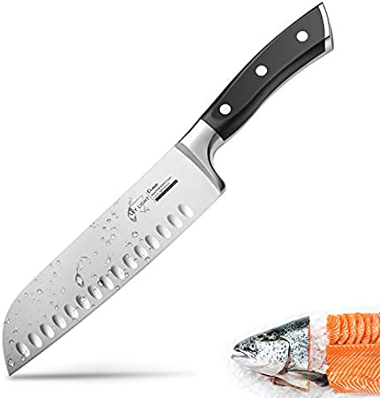 SKY LIGHT Cuchillo japonés Cuchillo Sushi Pro Cuchillo Santoku 17cm, Alemania Cuchillo de Acero Inoxidable de Sushi para Cocina y Restaurante