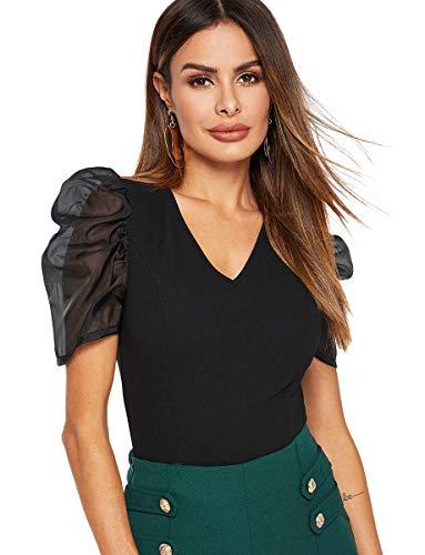 Romwe Women's Petite Mesh Puff Short Sleeve V Neck Slim Fit Elegant Vintage Crop Blouse Top Black S ()