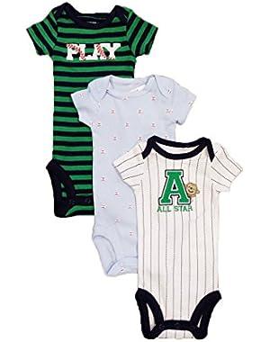 Carter's Baby Boys' 3 Pack Bodysuits Baseball (Nb-24 Months) (Green/blue)