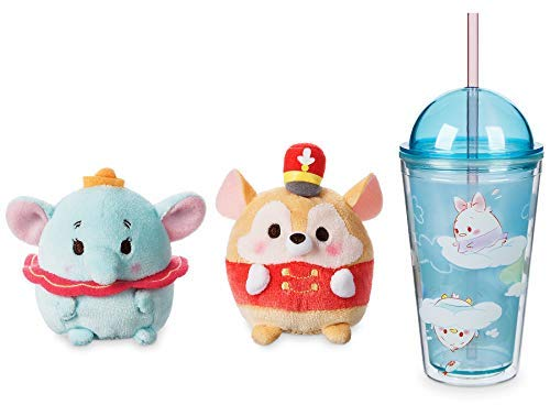 (WD-Pop Dreamy Soft Dumbo & Timothy The Mouse Ufufy Plush Mini Characters + Disney Drinking Tumbler / Cup with Straw Cloud Friends with lid Fun Bundle)