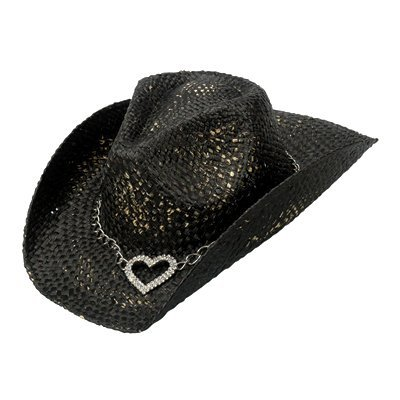 Peter Grimm Ltd Women's Heart Attack Straw Cowgirl Hat Black One Size