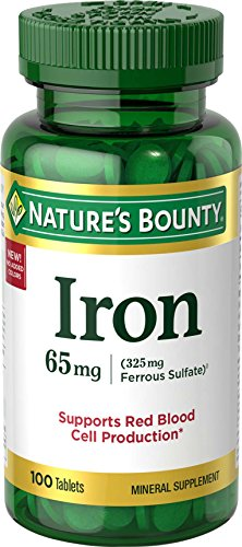 Silica 100 Tab - Nature's Bounty Iron 65 Mg.(325 mg Ferrous Sulfate), 100 Tablets
