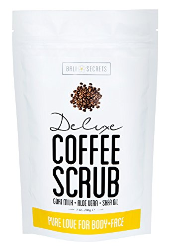 Deluxe Coffee Scrub - For Face & Body Exfoliation - Premium All Natural Ingredients - Reduce Cellulite, Stretch Marks & Acne - Pure Love For Your Skin