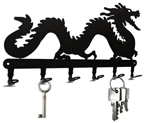 steelprint.de Chinese Luck Dragon - Key Holder, Hooks, Hanger, Steel, Black