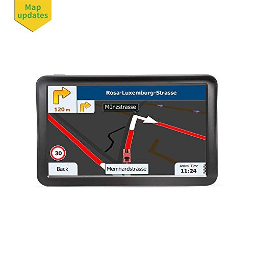 Teepao 7PCS Car 9inch GPS Navigation Touchscreen with Sunshade Voice Guidance Lane Driving Alarm Navigation System for Trucks SAT NAV