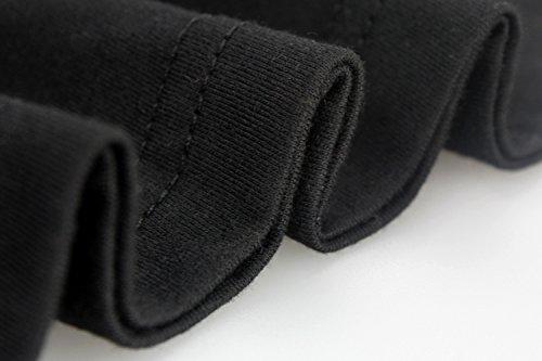 Yeesea Mujer Algodón Verano Manga corta Printed Tops Tee Casual T-shirt Negro