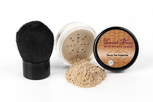 - 2 pc FOUNDATION with KABUKI BRUSH (WARM Neutral Shade-Most Popular) Set Mineral Makeup Kit Bare Skin Sheer Powder Cover