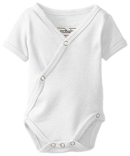 (L'ovedbaby Unisex-Baby Organic Cotton Kimono Short Sleeve  Bodysuit, White, 0/3 Months)