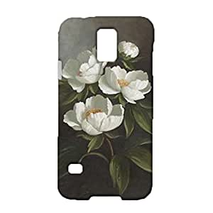 Samsung Galaxy S5 I9600 3D Safekeeping Phone Case Fresh And Elegant White Flowers Graph Cover Shell Snap on Samsung Galaxy S5 I9600 Waterproof Covers