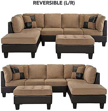 home, kitchen, furniture, living room furniture,  living room sets 2 discount 3-Piece Modern Reversible Microfiber / Faux Leather Sectional in USA