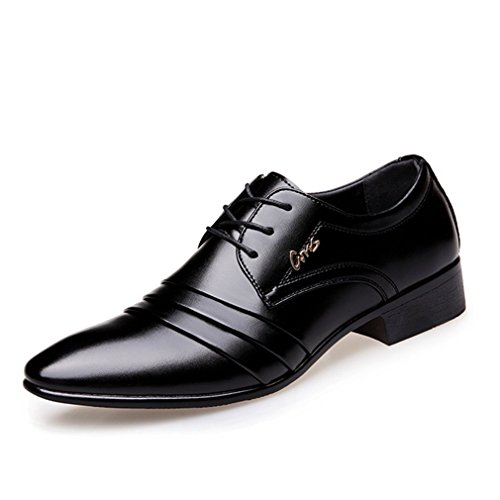 JJyee Men's Formal Oxford Wedding Tuxedo Shoes Lace up Black US9 (Formal Tuxedo Shoes)