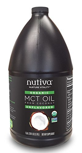 (Nutiva USDA Organic Unflavored Premium 128-Ounce MCT Oil, Keto & Paleo Friendly, 100% Non-GMO Organic Fresh Coconuts, Vegan & Great in Coffee, Smoothies, Salads)