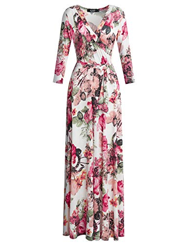 (DUYOHC Long Maxi Dresses for Women White, Womens Bohemian V Neck Stretchy Summer Casual Dress Women's Floral Printed Faux Wrap Maxi Long Dresses with Belt S Small White)