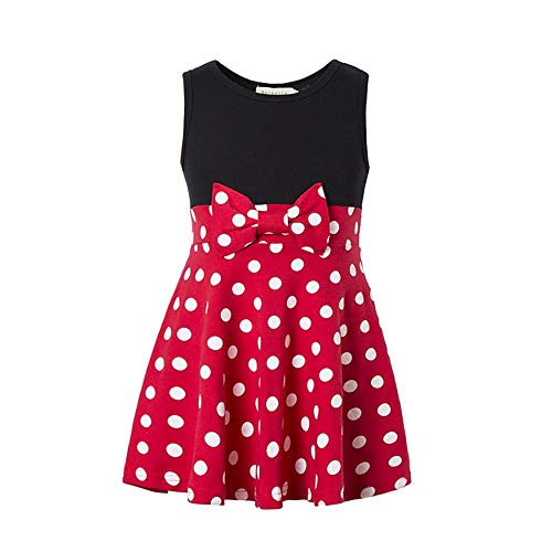 Girls Minnie Princess Dresses Mini Dress for Girls Minnie Costume Baby Girl Dress Mouse Ear Headband Polka Dot Dress (Red, 3-4T)