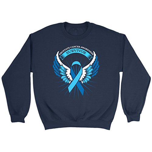 Survivor Light T-shirt (JoyHip.com Awesome Blessed Prostate Cancer Survivor Awareness Light Blue Ribbon Unisex Crewneck Sweatshirt)