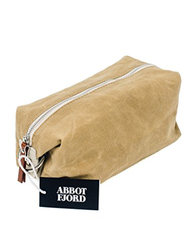 Old Man Kit (Dopp Kit by Abbot Fjord -- Mens and Womens Water-Resistant Waxed Canvas Toiletry Bag for Travel -- Durable and Adjustable (Tan))