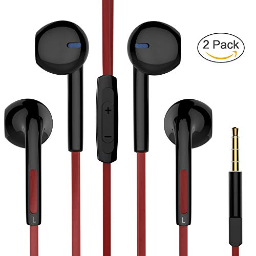 Earbuds, Pwow Stereo Wired Earphones in Ear Headphones with Microphone and Volume Control for Running Workout Black & Red (2 Pack)
