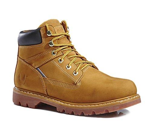 KINGSHOW Men's 1406 Premium Wheat Full-Grain Leather Plain Rubber Sole Soft Toe Work Boots 12 M US (Man Boots For Sale)