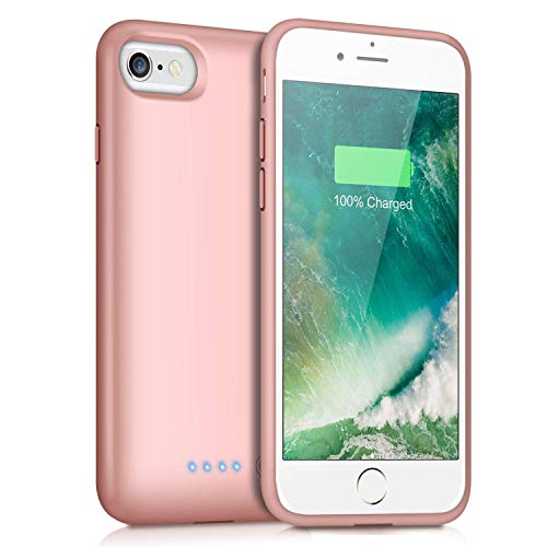 Trswyop Battery Case for iPhone 6s/6,Upgraded 6000mAh Rechargeable Charging Case Portable External Battery Pack for Apple iPhone 6/6s Protective Charger Case Backup Power Bank(4.7 Inch) (Rose Gold)