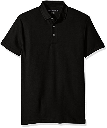 (French Connection Men's Short Sleeve Solid Color Regular Fit Polo Shirt, Black)