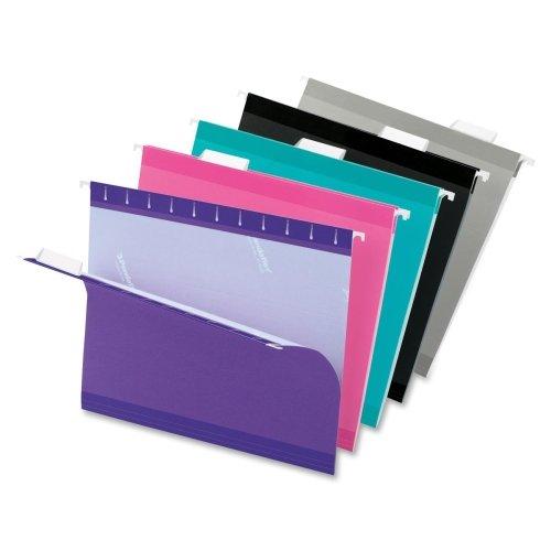 Pendaflex Color Hanging Folder - Letter - 8.50quot; Width x 11quot; Length Sheet Size - 1/5 Tab Cut - Aqua, Pink, Black, Gray, Violet - 25 / Box