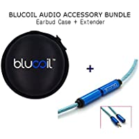 Blucoil Audio Earphone & Headphone 3.5mm Extension Cable 6ft PLUS Earbuds Travel Size Hard Case