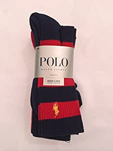 Polo Ralph Lauren Men's 4 Pairs/Pack Athletic Crew Socks Navy/Red