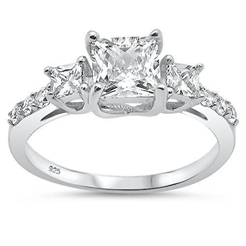 erling Silver Princess Cut & Round Cubic Zirconia Three Stone Engagement Ring Sizes 6 (Princess Cut Cz Rings)