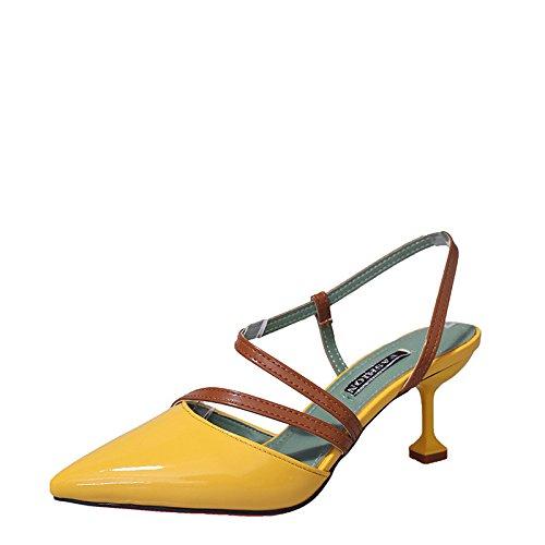 Colorblocking Dames Sandales Chaussures Bien avec des Chaussures à Talons Pointus Orteils Évidés Chaussures Sauvages 1Color F5dGwZV