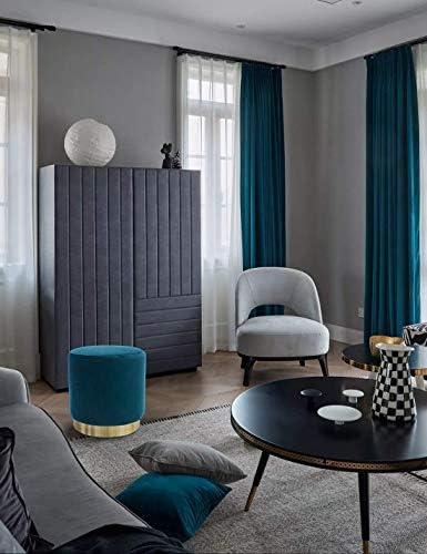 WZF Space Foot Stool Rest Coiffeuse Tabouret Rond Salon Taburete Tabourets Chaise pour Salon Chambre Vintage Valvet Seat Tabouret avec Métal Or Bleu Espace (Couleur: Bleu)