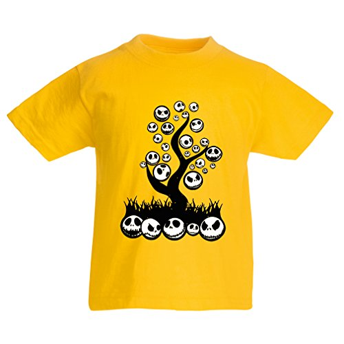 T shirts for kids The nightmare tree - Halloween party outfit (3-4 years Yellow Multi Color)