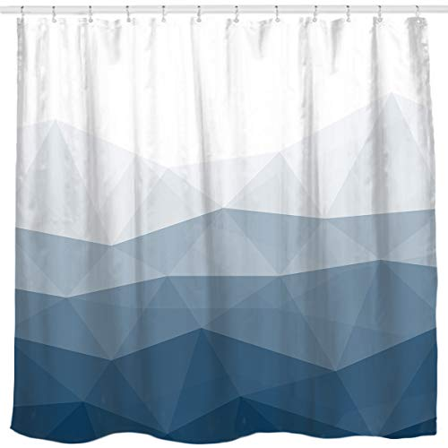 - Sunlit Designer Shower Curtain,Popular Shower Curtain, Ombre Blue Fabric Shower Curtains for Bathroom Decor, Contemporary Bathroom Curtains